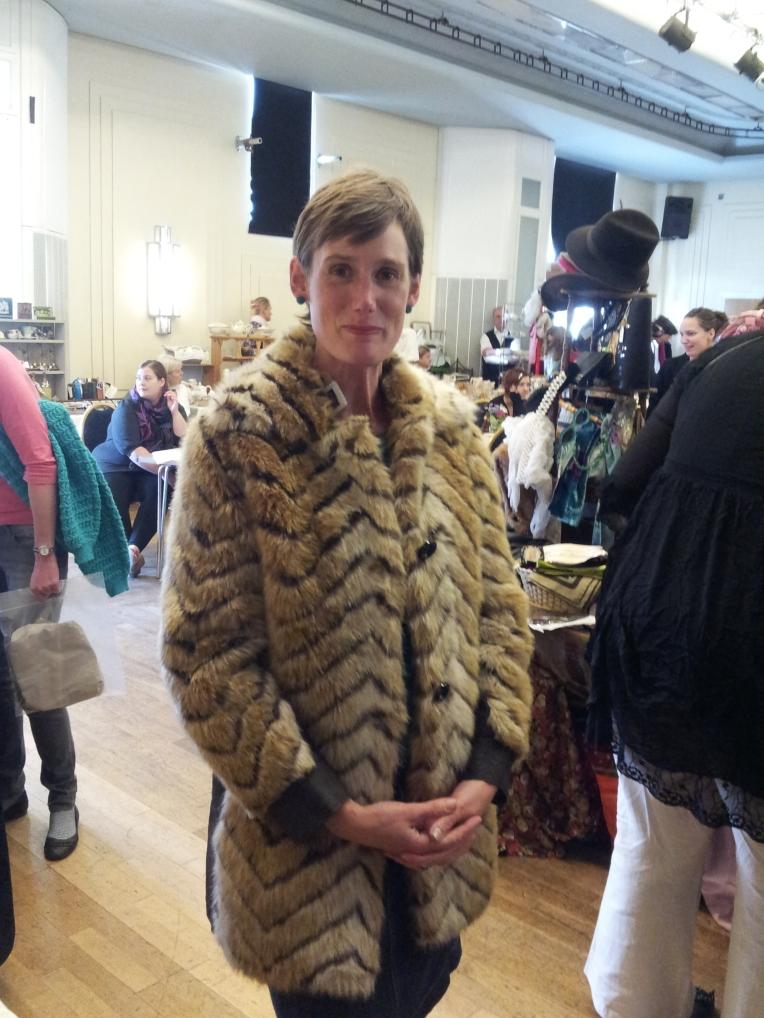 The Pop-Up Flea lady in a Mrs Fox's coat.