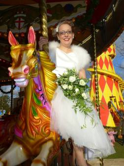 It was so much fun being on a Carousel in a wedding dress
