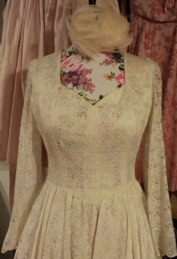A new vintage wedding dress I have for sale for 'Mrs Fox's' stall